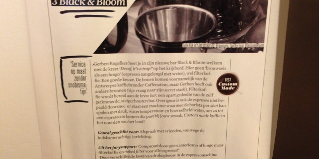 3rd place Esquire Magazine 'Best New Coffeeplace 2013'